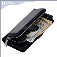 New zipper design credit card holder magnet removable tpu back cover purse case For iphone 7 wallet leather mobile phone case