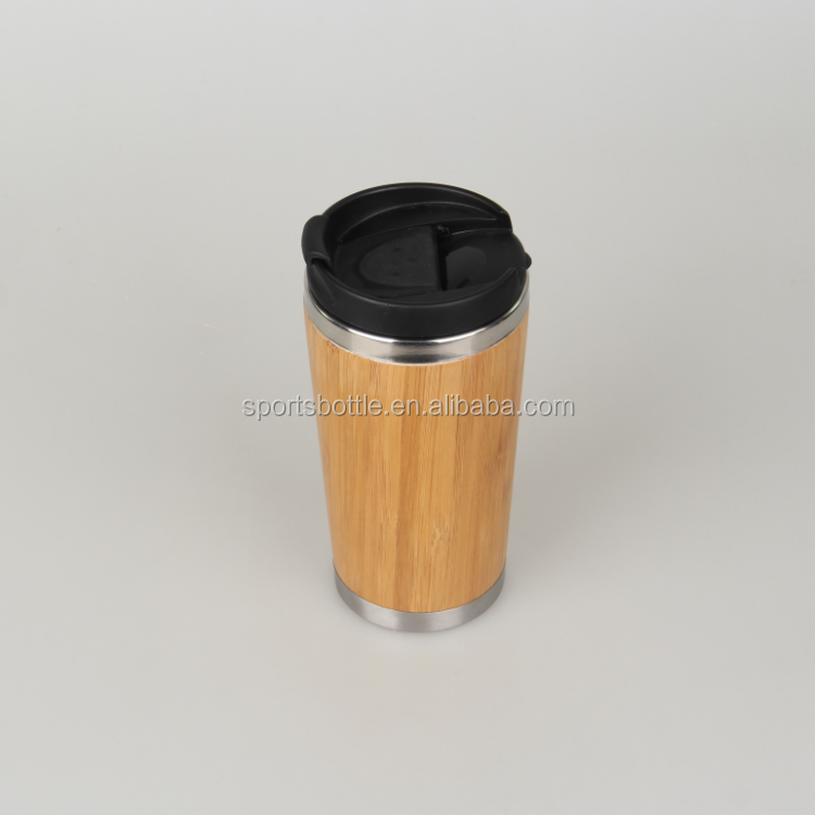 16oz good quality double wall 304 stainelss steel vacuum bamboo travel mug tea mug with PP plastic lid, laser logo