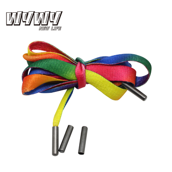 wholesale custom logo colored polyester shoe laces with plastic tips
