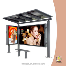 outdoor waterproof led backlit light box solar bus shelter with led