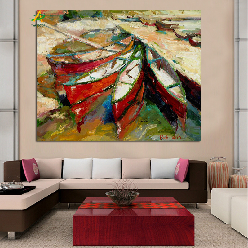 Abstract canvas prints boat seascape painting free sample for home hotel decoration