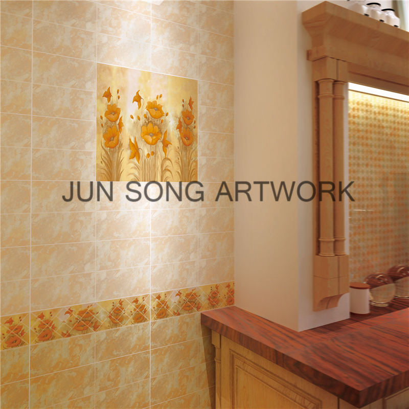 JS 29002 Ceramic Floor Tile Kitchen Wall Tiles Flower Ceramic Kitchen Backsplash