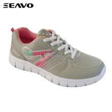SEAVO SS18 cheap eva sole mesh fabric upper grey design running shoes for women