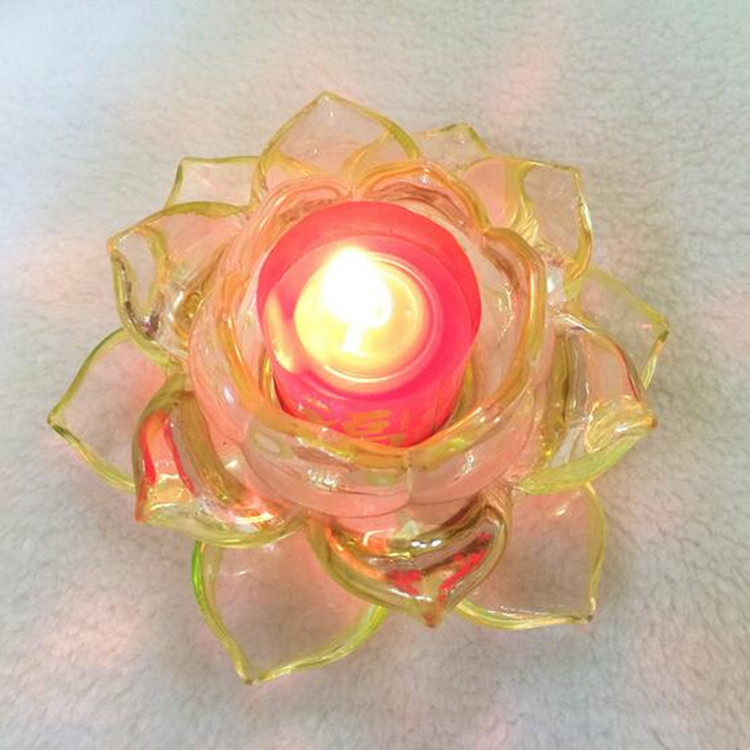 Wholesale colorful top quality cheap lotus flower crystal glass candle holder