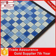 chinese white and blue swimming pool crystal glass mosaic tile