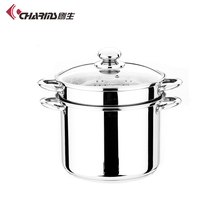 12 Litre Stainless Steel Steamer Pasta Pot , Glass Cover Cooking Pots Multifunctional Soup Pot 4Pcs In One