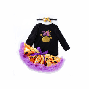 Wholesale halloween black romper  tops with pumpkin color tutu skirt outfit set baby clothing