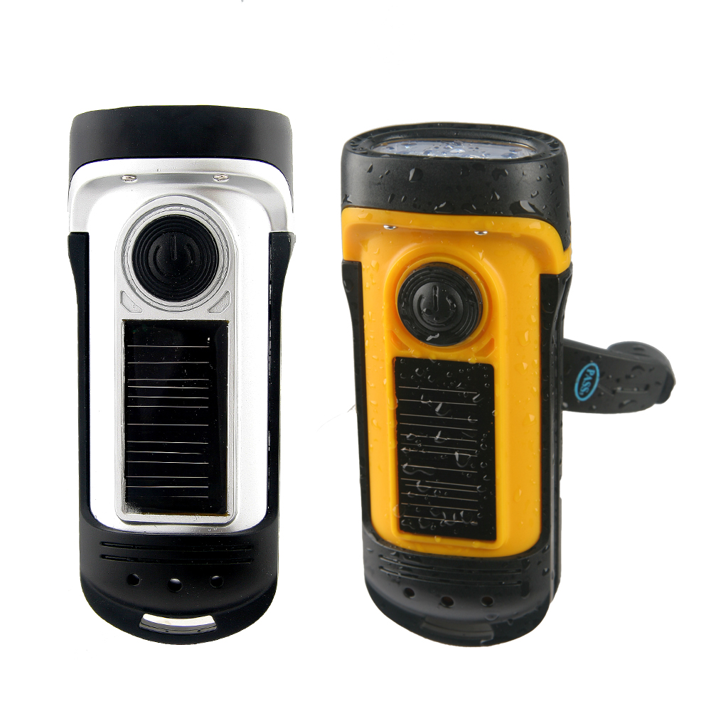 Waterproof Hand Crank Solar Portable LED Torch Flashlight
