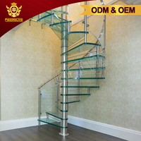 Luxury Stainless Steel Glass Spiral Staircase