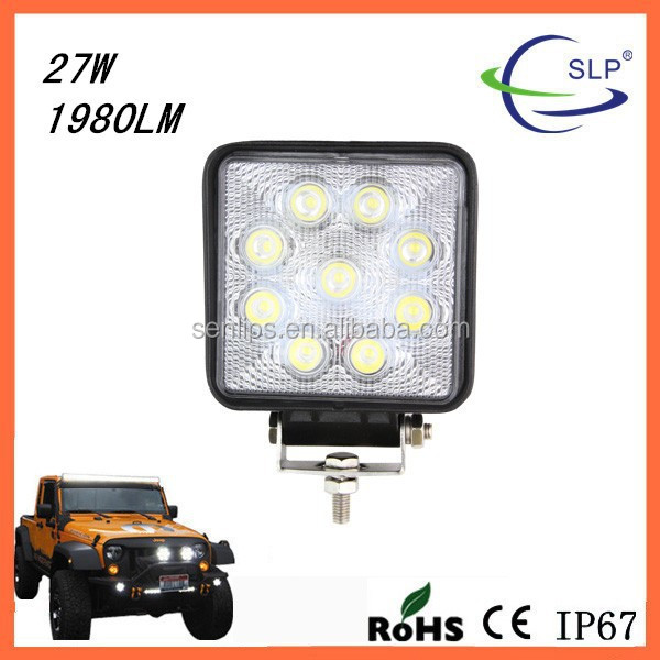27W Square Epistar Led Work Light Bar Spot/Flood Beam for Off-road Tractor, Truck AUT