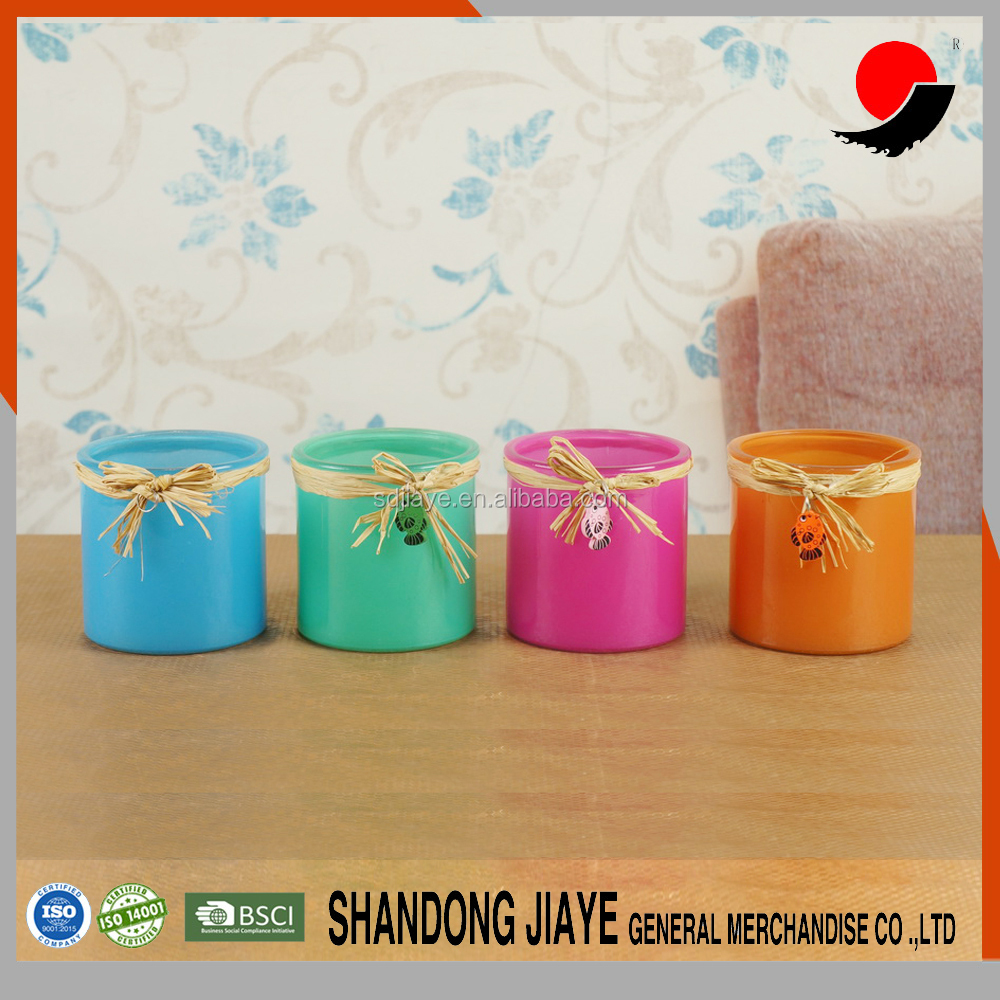 sets of 4 High Quality Coloured spray color Mini Glass Mosaic Tea Light Candle Votive Holder with pattern customed