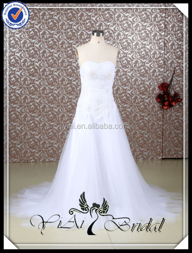 RQ036 Alibaba Simple White Appliqued Suzhou Wedding Dress China