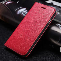 Luxury For Apple iPhone6 Flip Wallet Litchi Pattern Genuine Leather Case Cover For iPhone 6