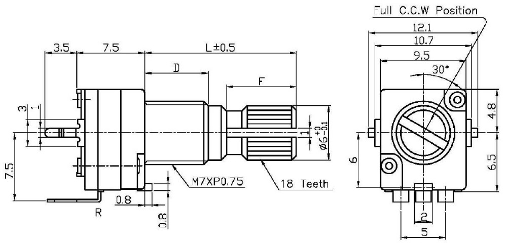 ljv b503 low cost claro mexico throttle 5 pin rotary potentiometer