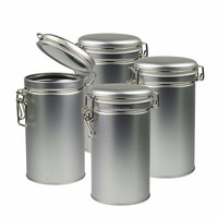 Round airtight seal tins with latch lid for spice coffee and tea