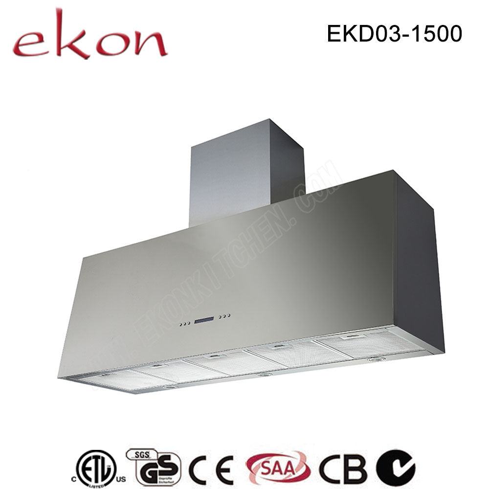CE CB GS SAA Approved Vented Tower Stainless Steel Canopy Sensor Touch Control 60 Inch Powerful 2000m3/hr BBQ Chimney Hood