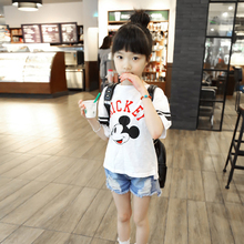 Hot sale new fashion summer lovely children cotton carton printed korean children clothing T-shirts for girls
