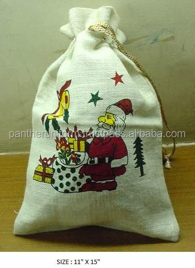 Screen Printed Jute Drawstring Gift Packaging Bag
