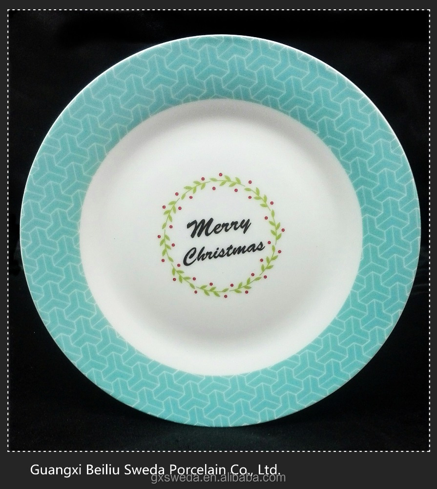Hotsale eco-friendly jigsaw style decal porcelain dessert plate for Christmas