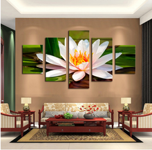 Free shipping 5 Pieces White Flowers Modern Home Wall Decor Canvas picture Art HD Print Painting Canvas art Unframed