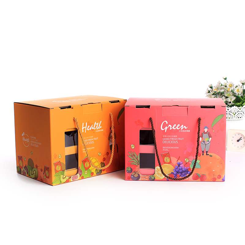 Hot sale custom dry fruit packaging design with handle cheap fruit packaging carton box apples