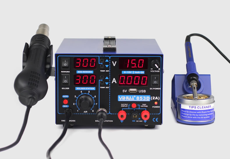 220V/110V ,YH-853D 2A rework station with hot air gun + soldering iron + power supply ,