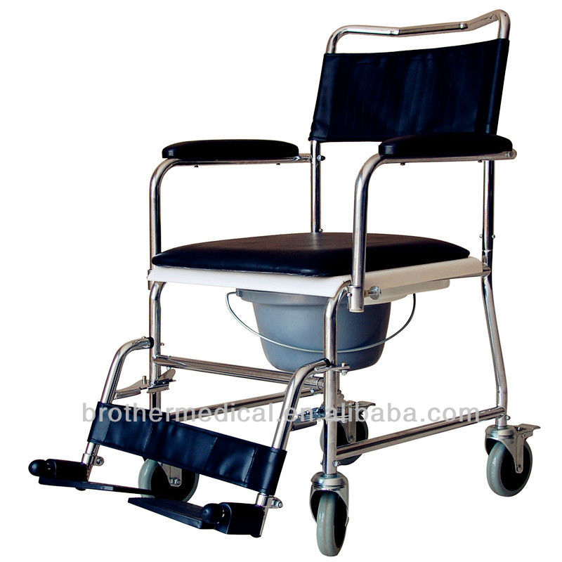 Steel Commode Chair Powder Coated wheelchair with toilet