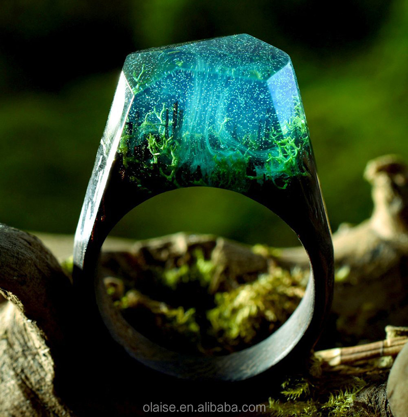 Top grade resin wood jewelry secret micro landscape magic forest theme couple wood ring