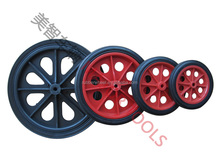 4.5 inch red hollow hard plastic rim solid rubber wheel