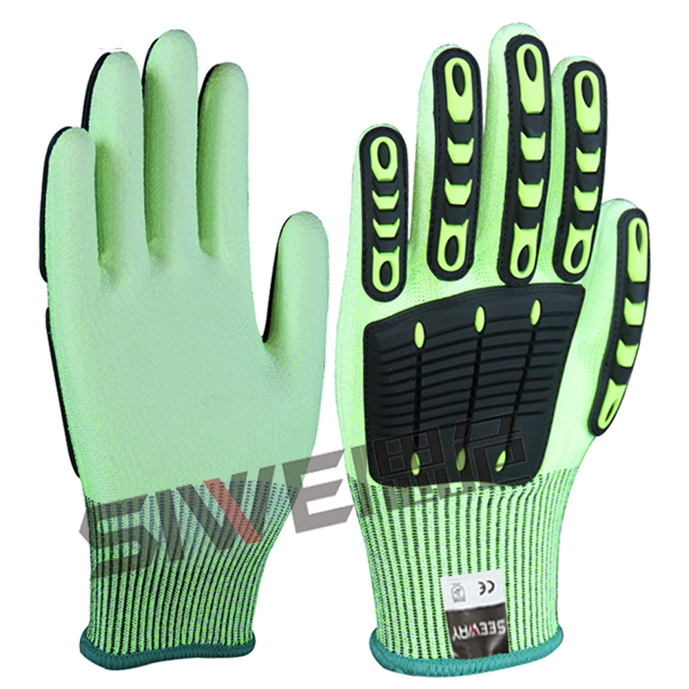Seeway High Quality HPPE Knit Fluorescent Yellow Safety Motor Bike Gloves