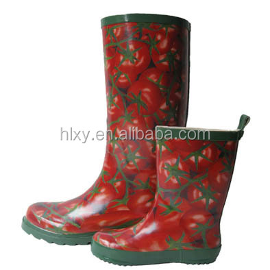New Womens Wellies Mid Calf Rubber Snow Rain Boots