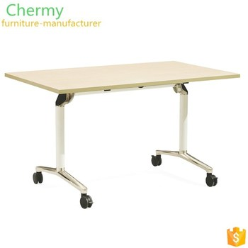 Promotional movable wooden folded office table rectangle melamine wheels meeting tables CM-T002