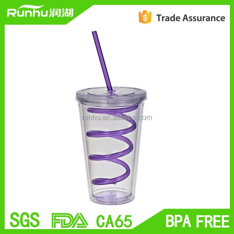 double layer plastic tumbler with swirl straw, double colored PP straw <strong>cup</strong>