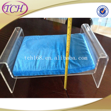 Clear acrylic dog bed / transparent acrylic cat/ pet/ dog bed with cushion