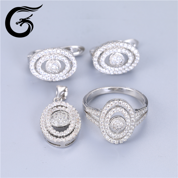 Professional High Quality 925 Sterling Silver Wedding Bridal Jewelry Set with cz