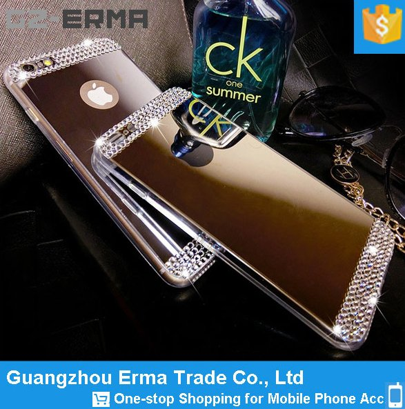 high quality diamond phone case for iphone 6 mobile cover / custom soft electroplating mirror tpu case