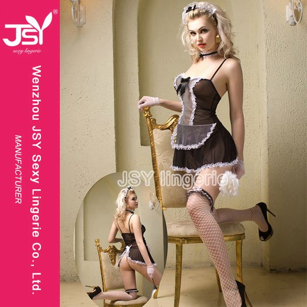 Hot Selling good quality latex sexy french maid cosplay costumes