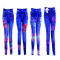 Lady's print flower fake denim jeans jegging