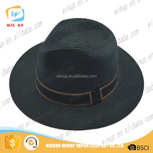 Fashion Black Plastic Fedora Hats With Compective Price