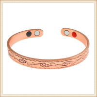 Infrared ray negative ion Solid Copper Magnetic Therapy copper cuff bracelet