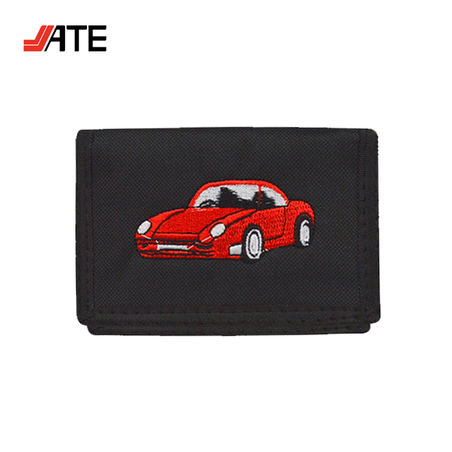 Embroidery Tri-Fold Hook and Loop Wallet Custom Logo, Design Your Own Wallet, Polyester Private Label Wallet