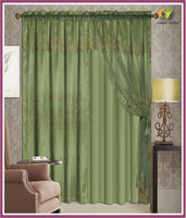 Luxury jacquard window curtain with sheer two panels