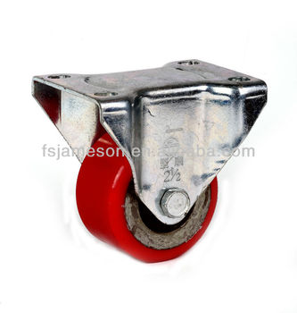 Medium duty rigid caster wheel red pu cover cast iron