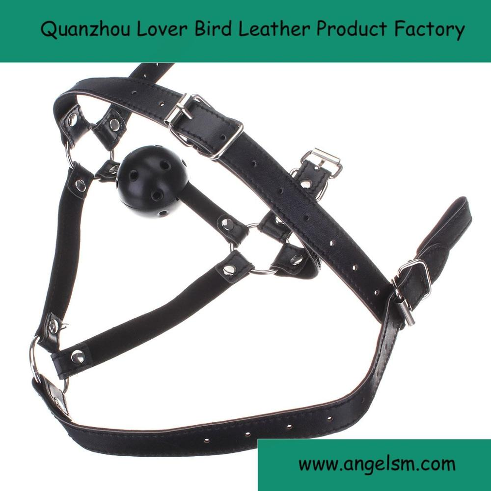 PU Leather Bondage Harness Mask Hood With Mouth Gag Ball Stuffed Mouth Stuffed Adult Product Sex Game Fixation Toy For Couples