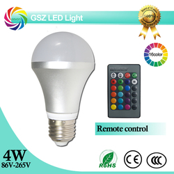 RGB led bulb aluminum housing e27 4W Dimmable remote control 16 color changing led lighting