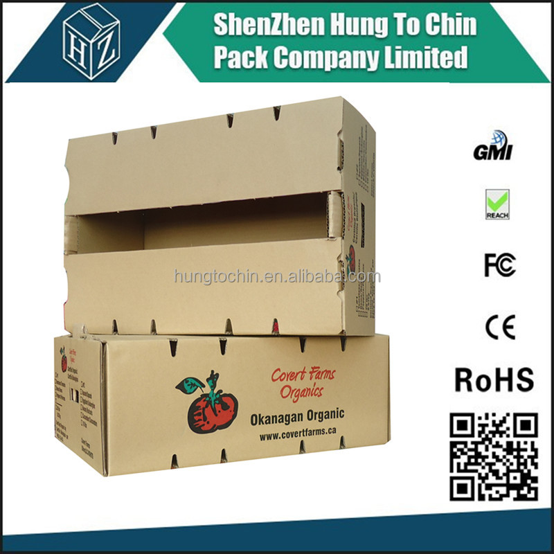 Packing factory printed corrugated fruit carton box with lid fruit box shipping cartons