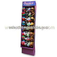 floor peg display stand for girls accessories front hook display for hair cases retail customized cardboard pos display