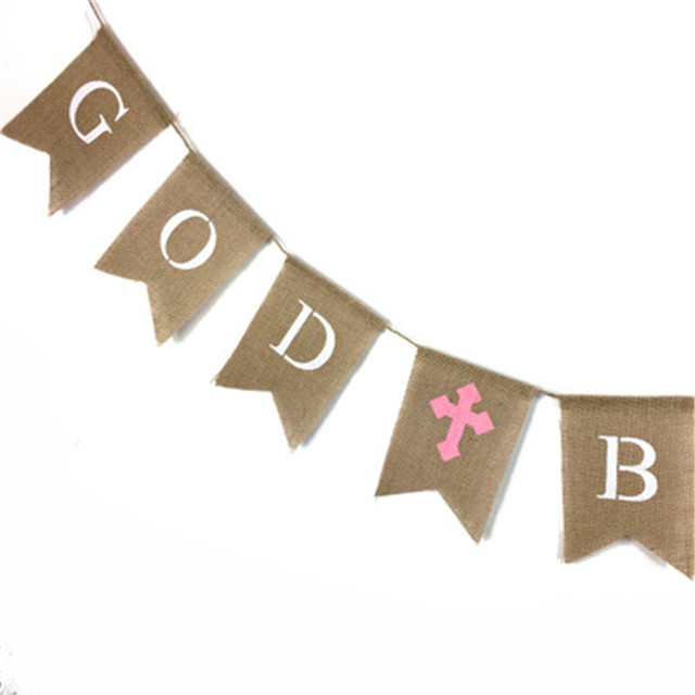 2.8M GOD BLESS Letters Burlap Forked Tail Banners Garland Bunting Flags For Baby Shower Birthday Christening Baptism Party Decor