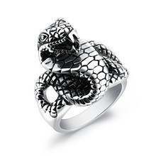 Marlary Wholesale Jewelry Vintage Stainless Steel Gothic Biker Men's Snake Head Ring
