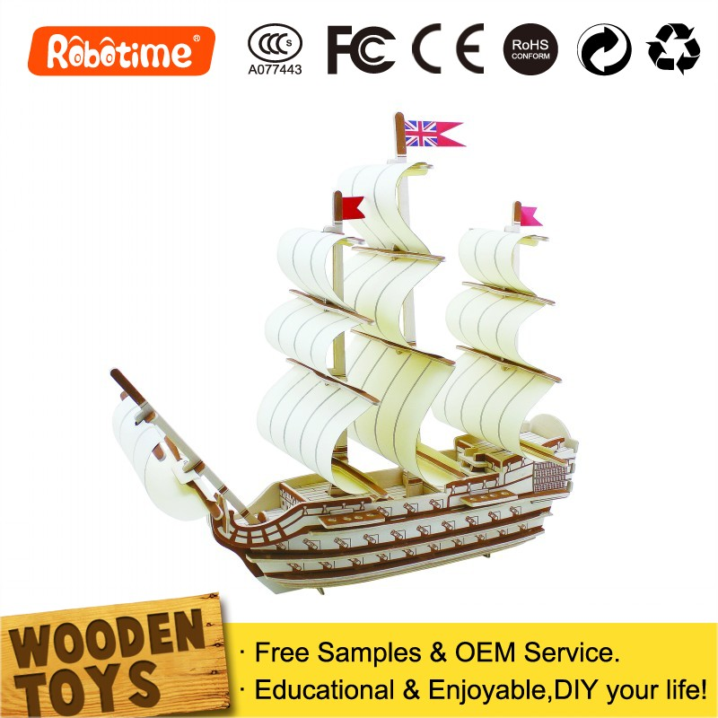 3D Wooden Ship Model Educational Toys Boats For Kids